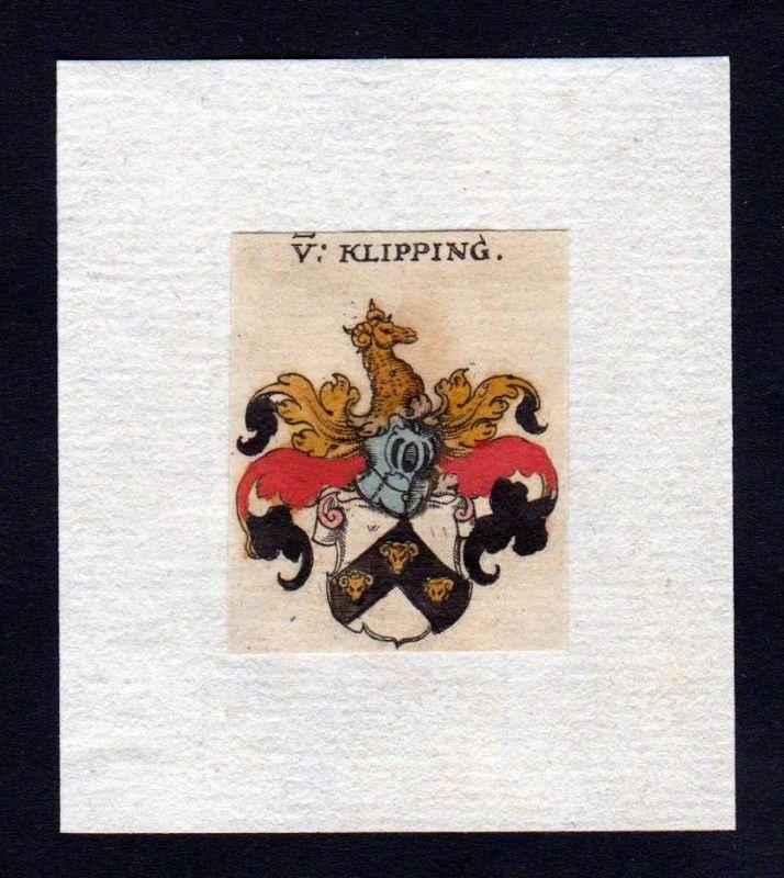 17. Jh Klipping Wappen coat of arms heraldry Heraldik Kupferstich