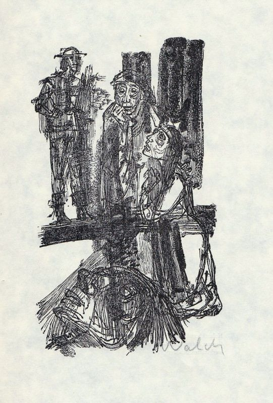 1967 Hans-Joachim Walch Holzstich zu Brecht Mutter Courage signiert