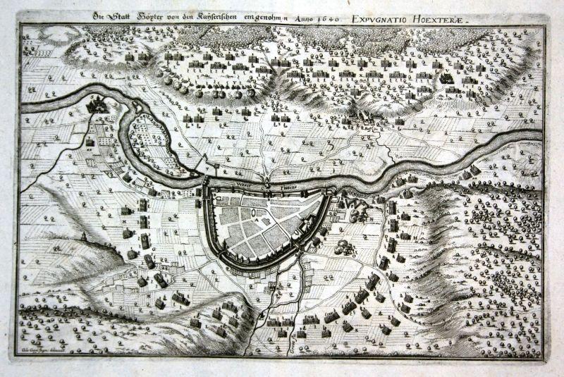 1645 Höxter Weser Belagerung Plan siege Ansicht Kupferstich antique print Merian