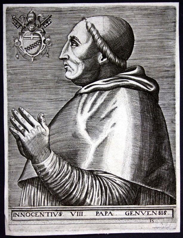 17. Jh Innozenz VIII Papst Genua Papa Kupferstich Portrait engraving pope Italy