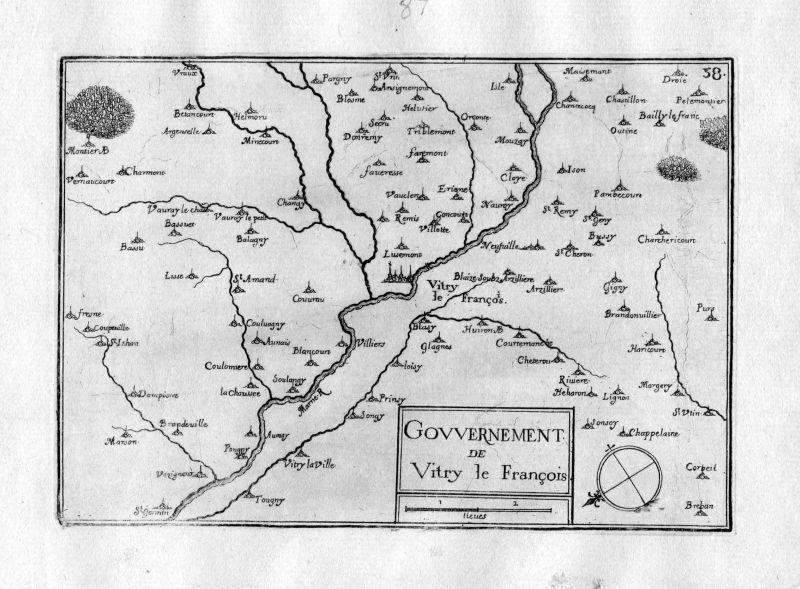 Ca. 1630 Vitry-le-Francois Marne Champagne-Ardenne Frankreich gravure Tassin