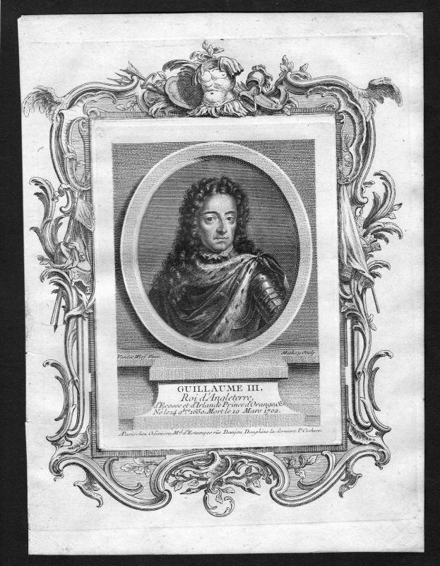 Ca. 1690 William III of England Willem Portrait Kupferstich antique print