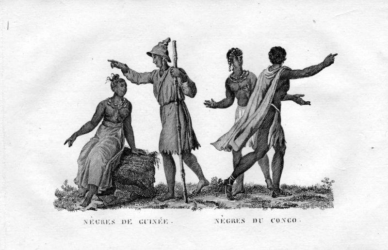 Ca 1800 Kongo Congo Guinea Afrika Tracht Trachten costumes Kupferstich engraving