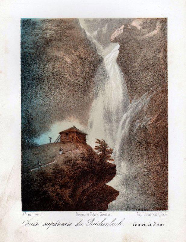 1840 Reichenbachfall cascade Ansicht vue Farblithographie Litho Cuvillier