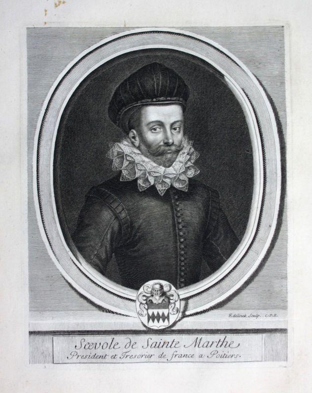 Ca. 1700 Scevole de Sainte Marthe Historiker historien Portrait Kupferstich
