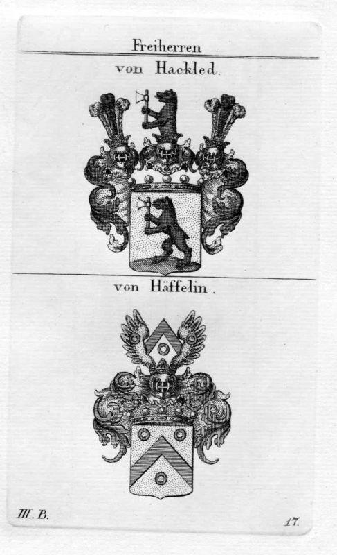 Von Hackled / von Häffelin / Bayern - Wappen coat of arms Heraldik heraldry Kupf