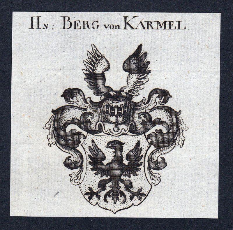 Ca. 1820 Berg Karmel Carmel Wappen Adel coat of arms Kupferstich antique print