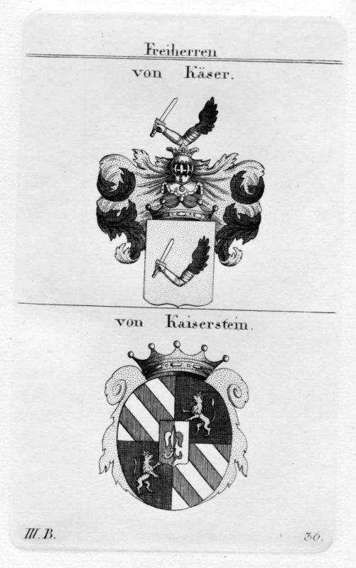 Von Käser / von Kaiserstein / Bayern - Wappen coat of arms Heraldik heraldry Kup
