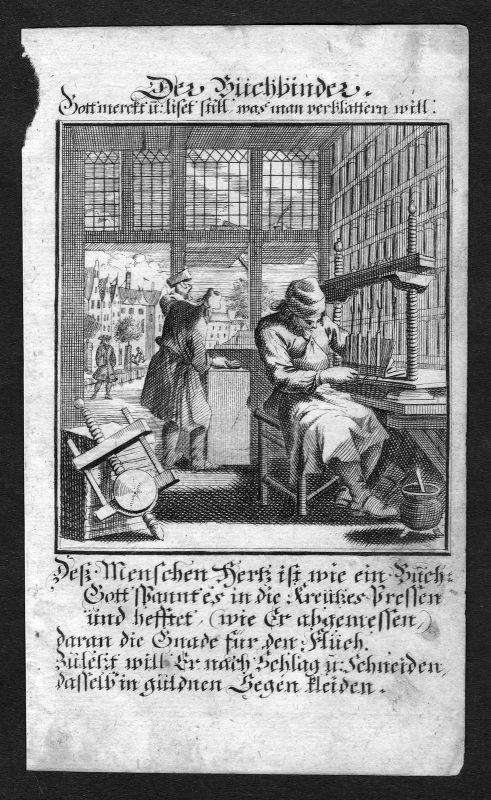 Ca. 1700 Buchbinder bookbinder Beruf profession Weigel Kupferstich antique print