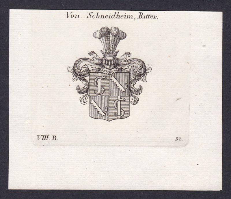 1820 Schnaitheim Wappen Adel coat of arms Heraldik Kupferstich antique print