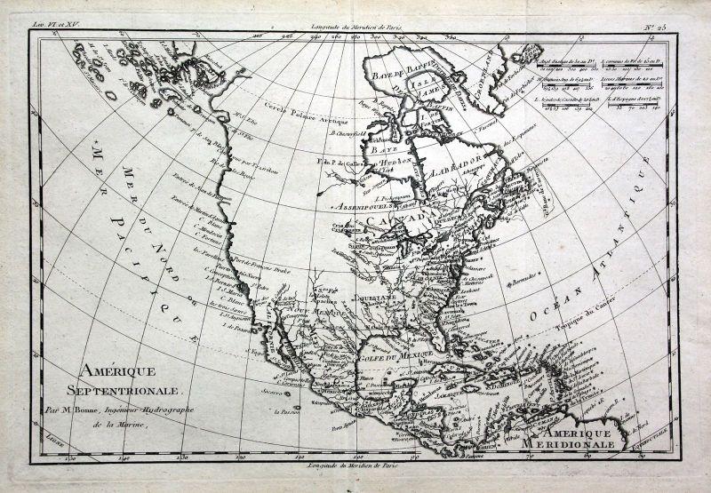 Ca. 1780 America USA Florida New York Kuba Kupferstich Karte map engraving Bonne