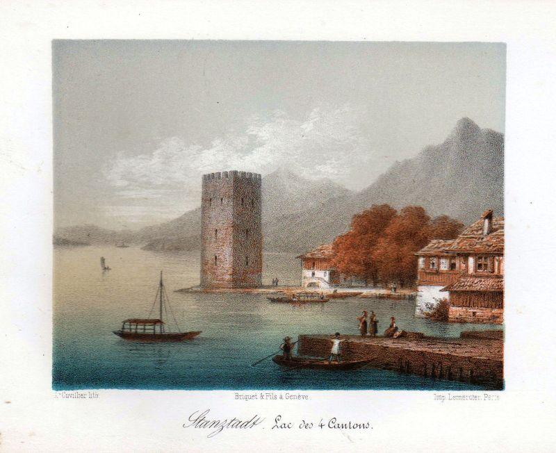 1840 Stansstad Vierwaldstättersee Ansicht vue Farblithographie Litho Cuvillier