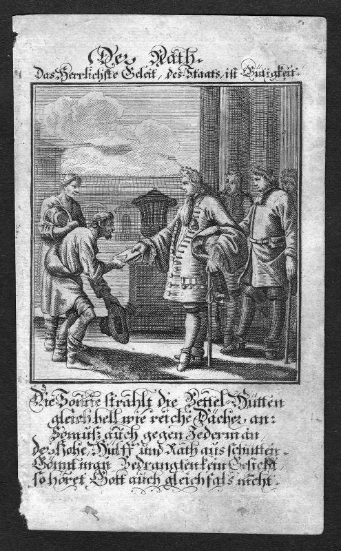 Ca. 1700 Rat council Rathaus Beruf profession Weigel Kupferstich antique print