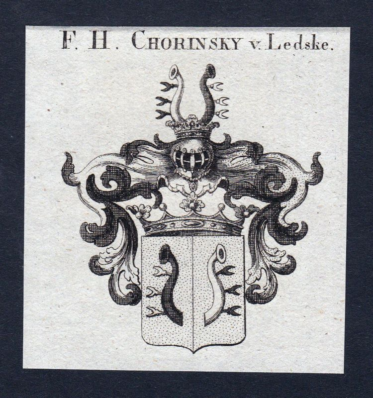 Ca. 1820 Chorinsky Ledske Wappen Adel coat of arms Kupferstich antique pr 144780 0