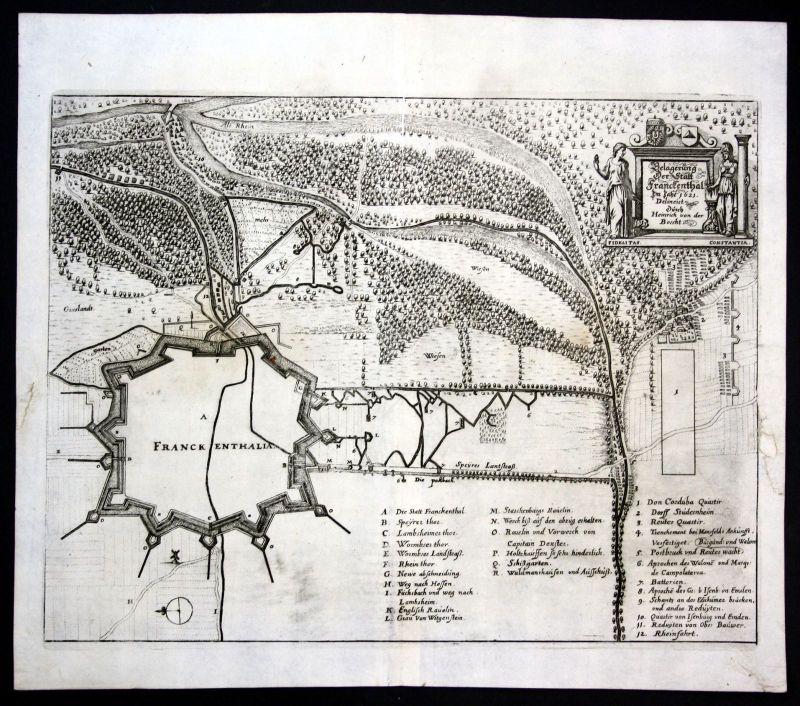 Ca. 1640 Frankenthal Belagerung Karte map Kupferstich antique print Merian