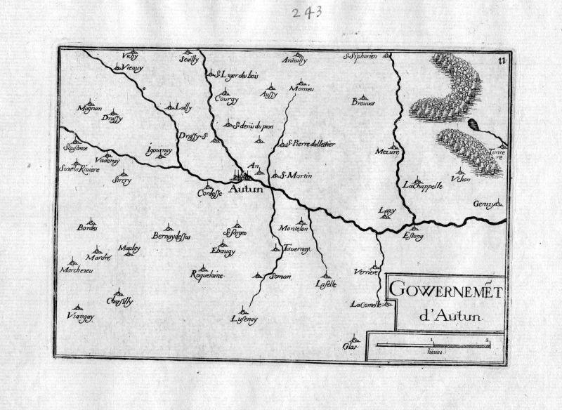 Ca. 1630 Autun Saone-et-Loire Burgund Bourgogne Frankreich France gravure Tassin