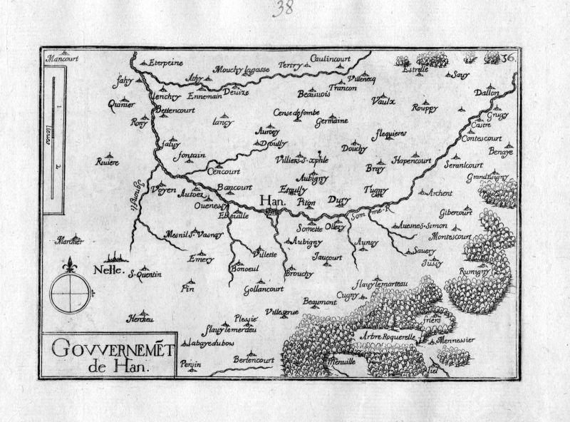 Ca. 1630 Han-sur-Meuse Lorraine Frankreich gravure carte Kupferstich Tassin