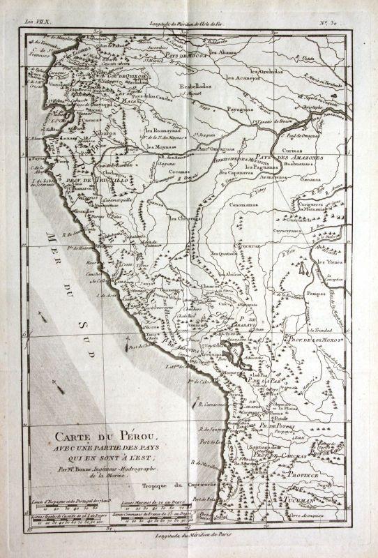 Ca. 1780 Peru South America Südamerika Kupferstich Karte map engraving Bonne