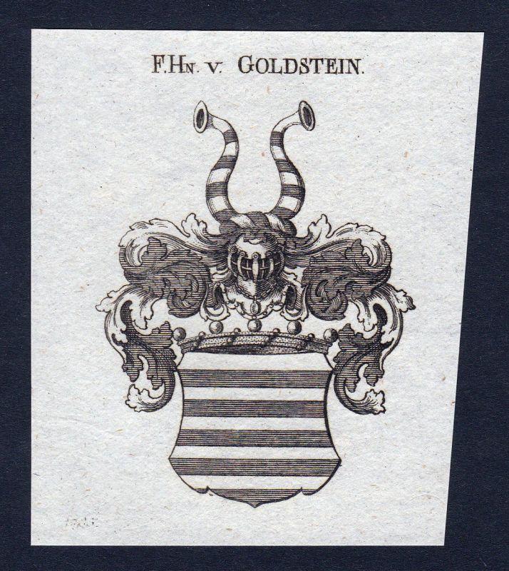 Goldstein Goltstein Rheinland Wappen Adel coat of arms Kupferstich engraving