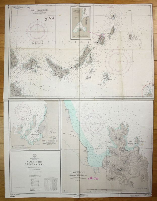 1967 Mediterranean Sea Greece Plans in the Aegean Sea Griechenland map