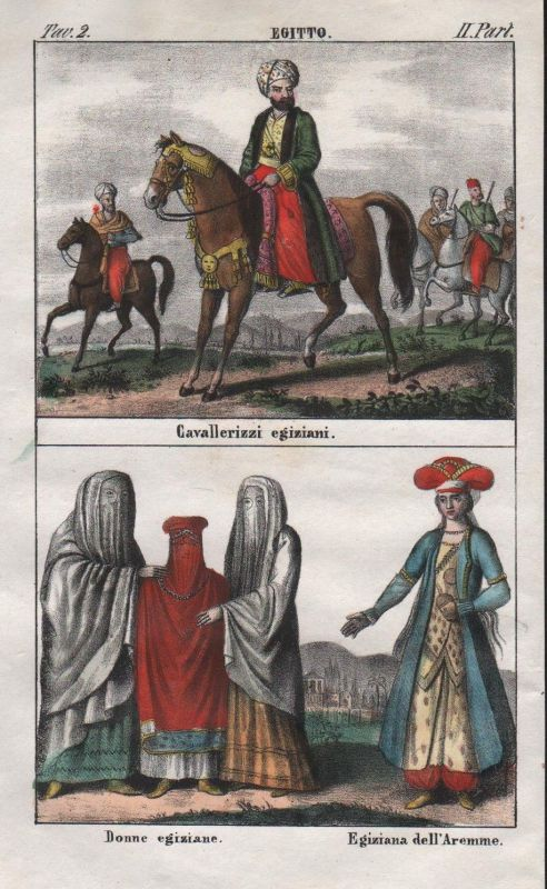 1840 - Egypt uniforms military North Africa people costume Africa Lithograph