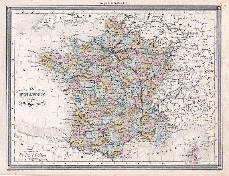 1840 France Frankreich Europa Europe Paris 86 Lyon Karte map Vuillemin
