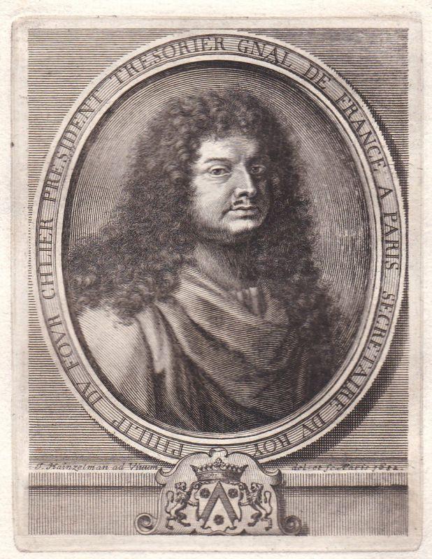 17. Jh Philippe Dufour secretaire roi gravure Portrait Kupferstich antique print