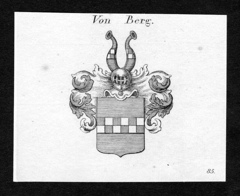 Ca. 1820 Berg Wappen Adel coat of arms Kupferstich antique print heraldry 138011