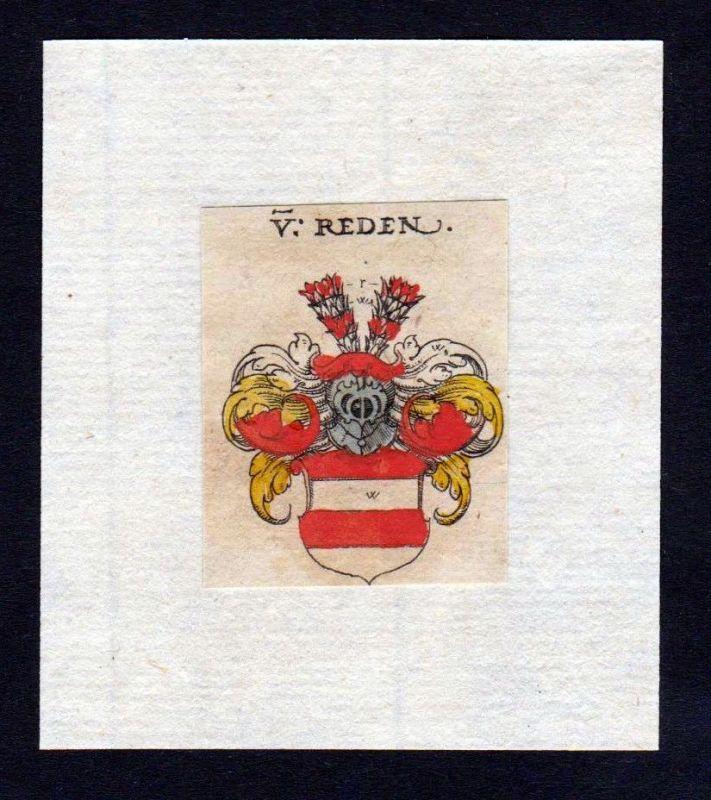 17. Jh Reden Wappen coat of arms heraldry Heraldik Kupferstich