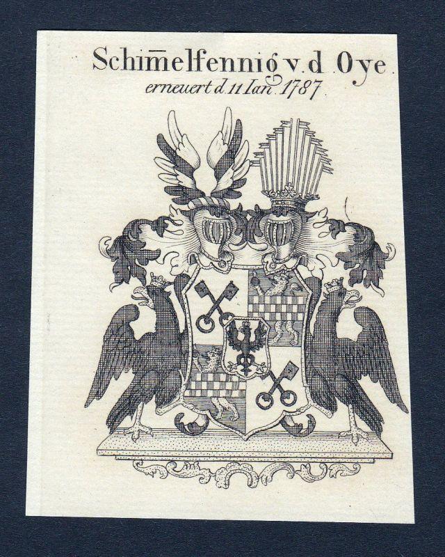 Ca. 1820 Schimmelpfennig Oye Wappen Adel coat of arms Kupferstich antique print