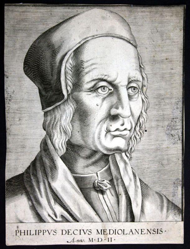 17. Jh  Filippo Decio Jurist Italien Kupferstich Portrait acquaforte stampa