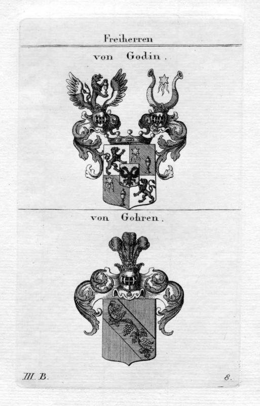Von Godin / von Gohren / Bayern - Wappen coat of arms Heraldik heraldry Kupferst