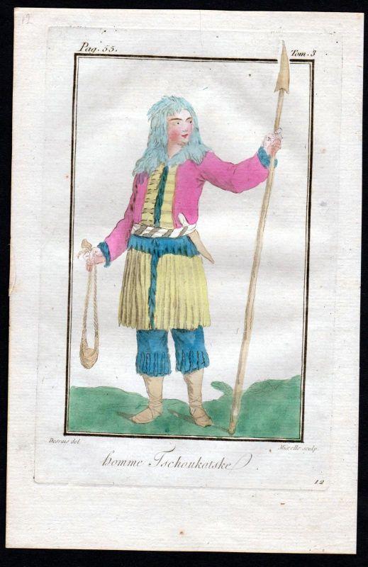 1780 - Tchouchatska Russland Russia costume Kupferstich Tracht antique print