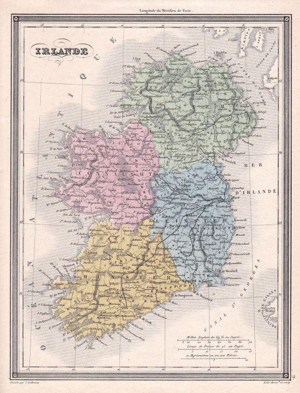 Ireland Irland Dublin England Great Britain Großbritannien Karte map Vuillemin