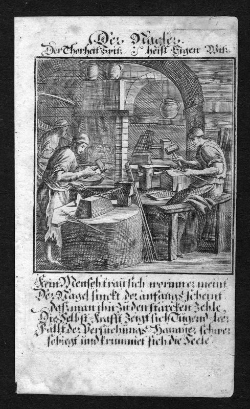 Ca 1700 Nagelschmied nailsmith Beruf profession Weigel Kupferstich antique print