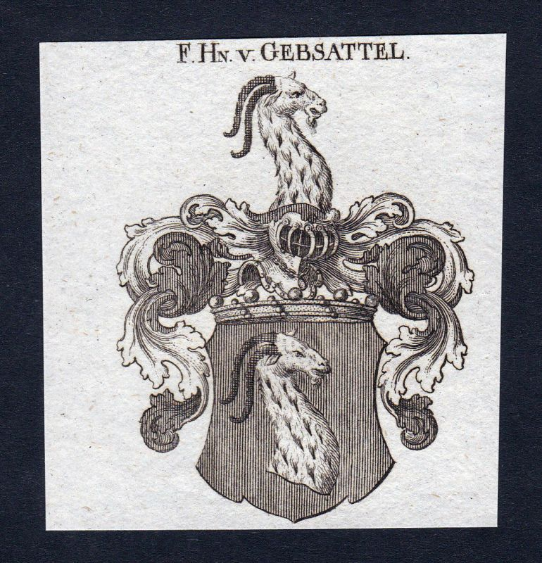 1820 Gebsattel Bayern Wappen Adel coat of arms Heraldik Kupferstich engraving
