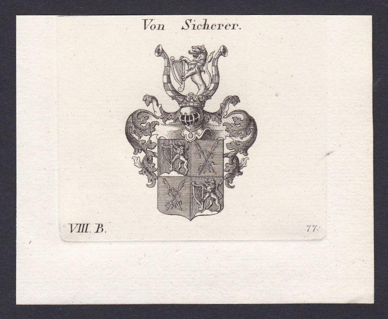 1820 Sicherer Wappen Adel coat of arms Heraldik Kupferstich antique print