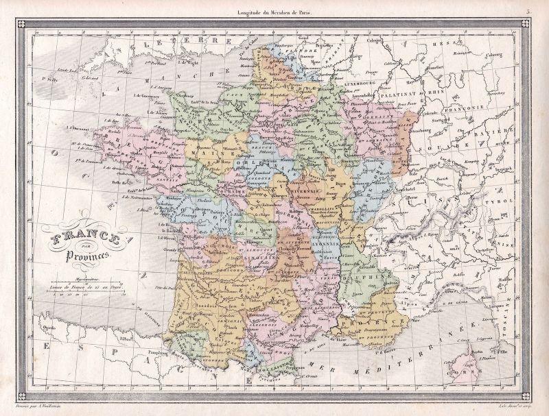 1840 France Frankreich Europa Europe Paris Maine Bretagne Karte map Vuillemin