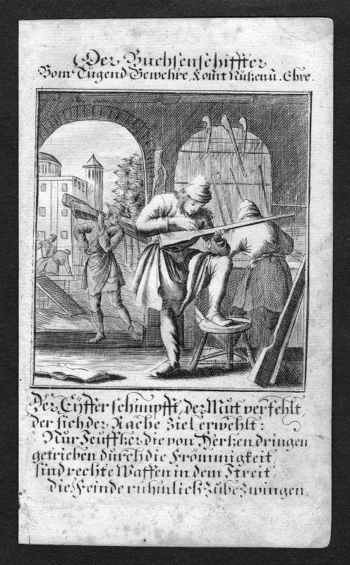 Ca 1700 Büchsenmacher gunsmith Beruf profession Weigel Kupferstich antique print