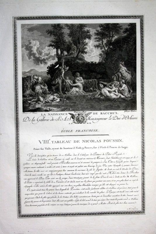 1786 Geburt birth Bacchus Kupferstich antique print Nicolas Poussin Dambran