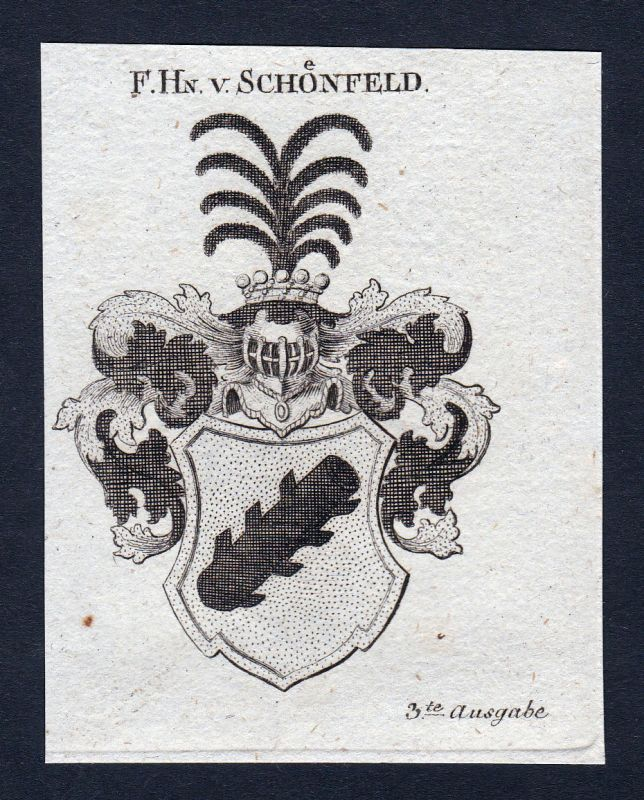 1820 Schönfeld Sachsen Wappen Adel coat of arms Heraldik Kupferstich engraving