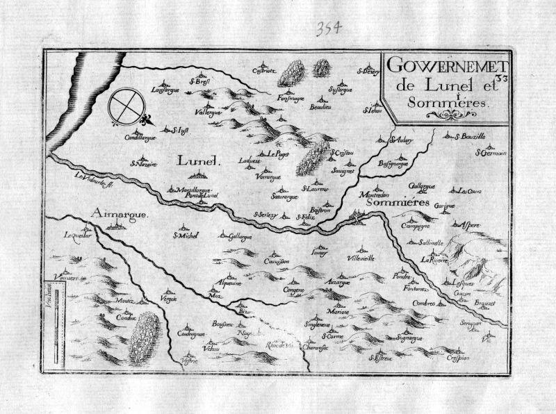 Ca. 1630 Lunel Herault Sommieres Gard Frankreich France gravure carte Tassin