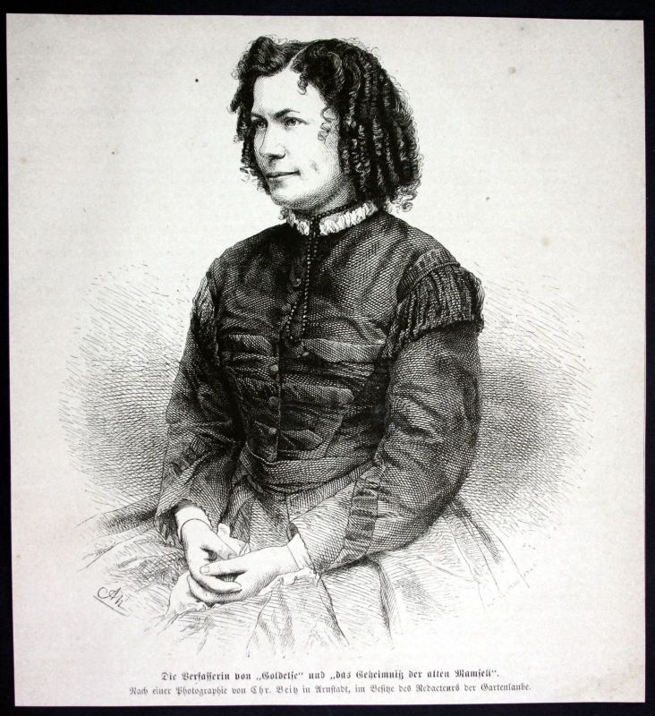 Ca. 1880 E. Marlitt Schriftstellerin writer Portrait Holzstich antique print