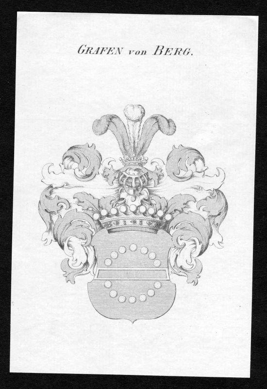 Ca. 1820 Berg Wappen Adel coat of arms Kupferstich antique print heraldry 132513