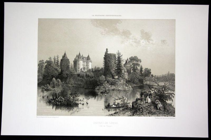Ca. 1860 Chateau de Landal Ansicht vue Bretagne Frankreich France Lithographie