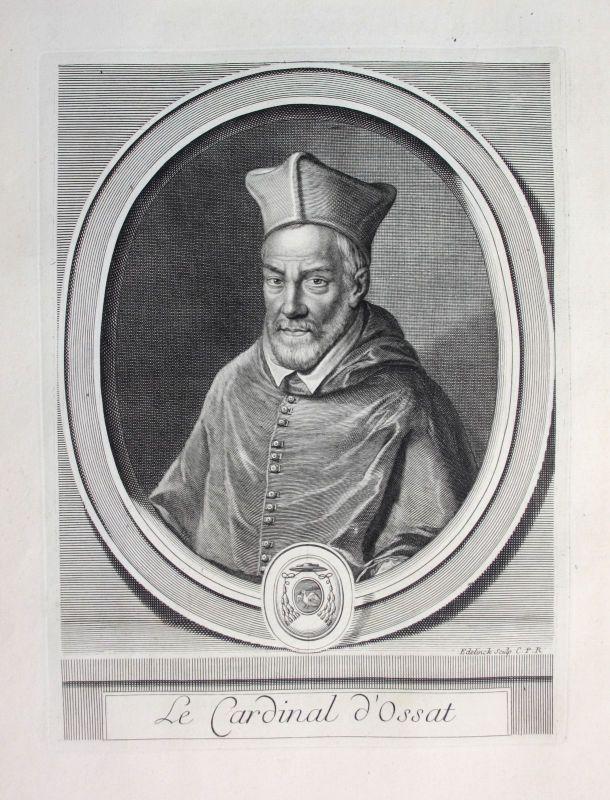 Ca. 1700 Arnaud Ossat Kardinal Cardinal Diplomat diplomate Portrait gravure