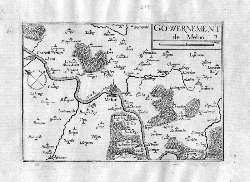 Ca. 1630 Melun Ile-de-France Frankreich France gravure carte Kupferstich Tassin
