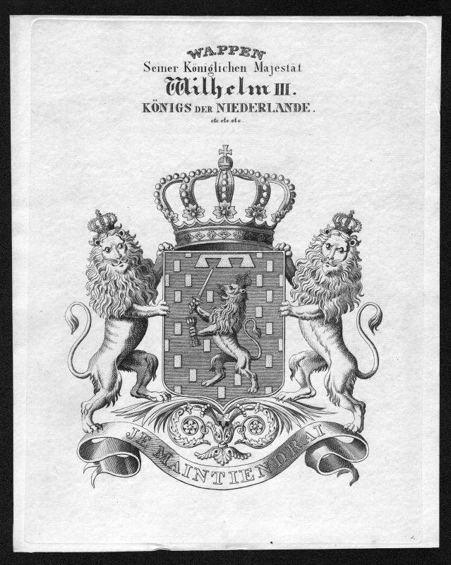 1820 -  Niederlande Netherlands Wappen Adel coat of arms heraldry Heraldik