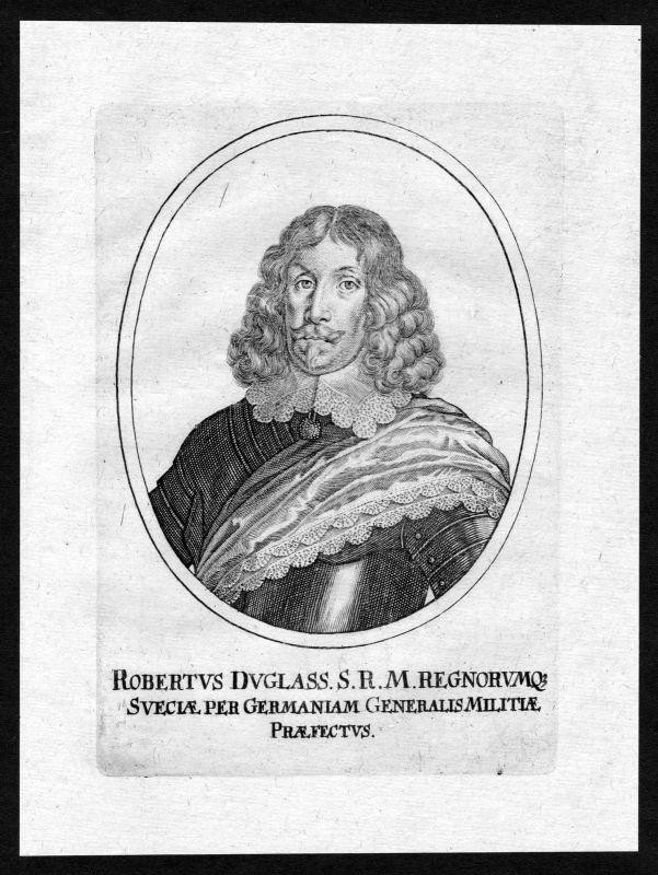17. Jh. Robert Douglas Count of Skenninge Portrait Kupferstich antique print