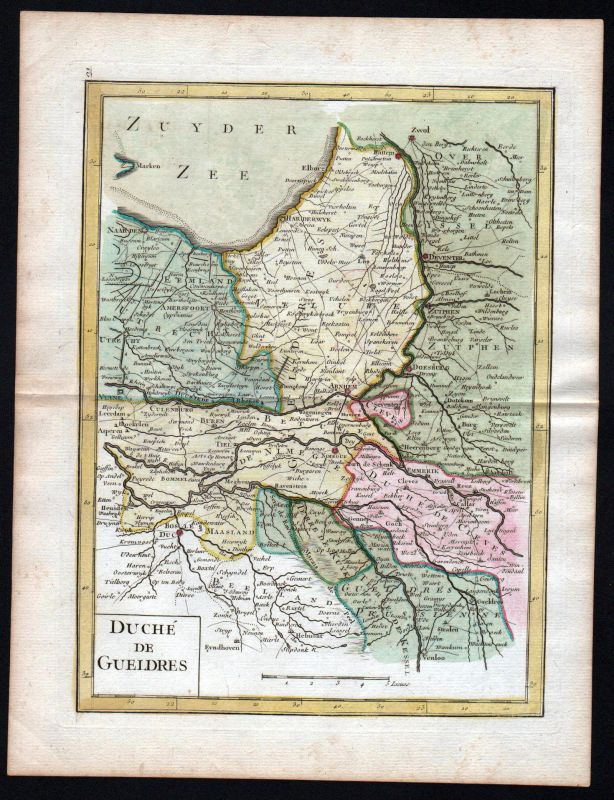 1767 Gelderland Nederland Arnheim Karte map Kupferstich antique print Le Rouge